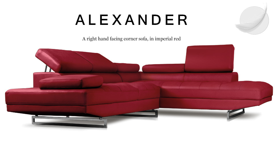 Alexander Right Hand Facing Leather Corner Sofa, Imperial Red