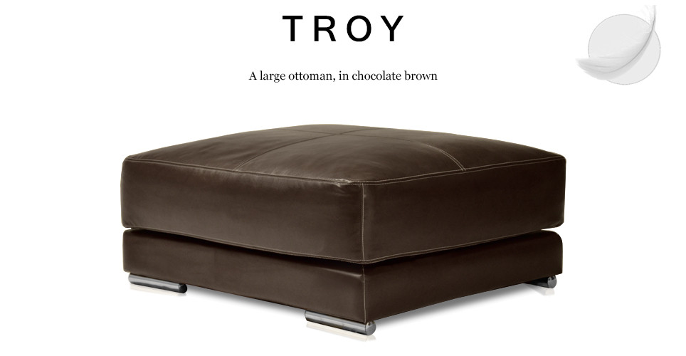 Troy Large Leather Ottoman, Chocolate Brown