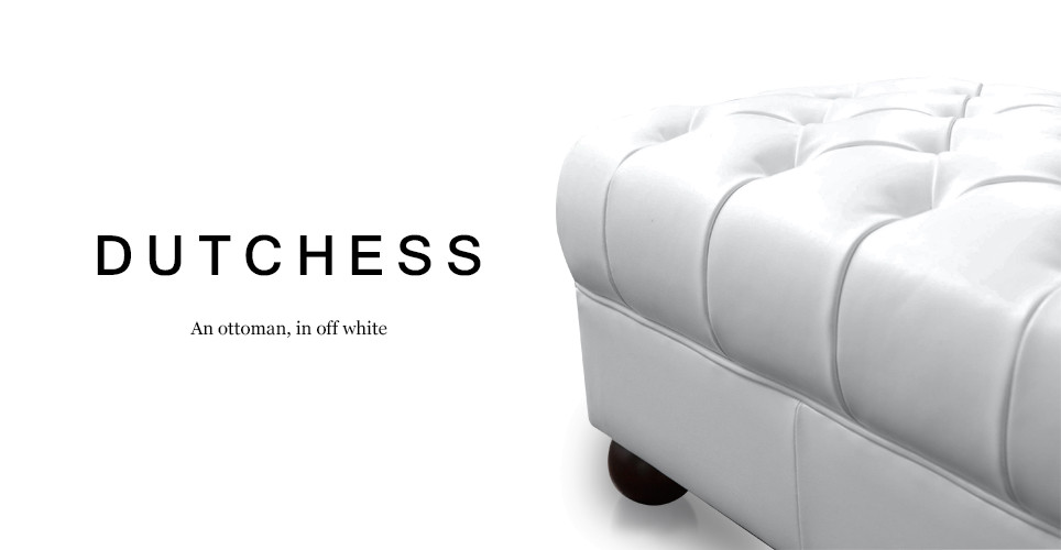 Dutchess Chesterfield Leather Ottoman, Off White