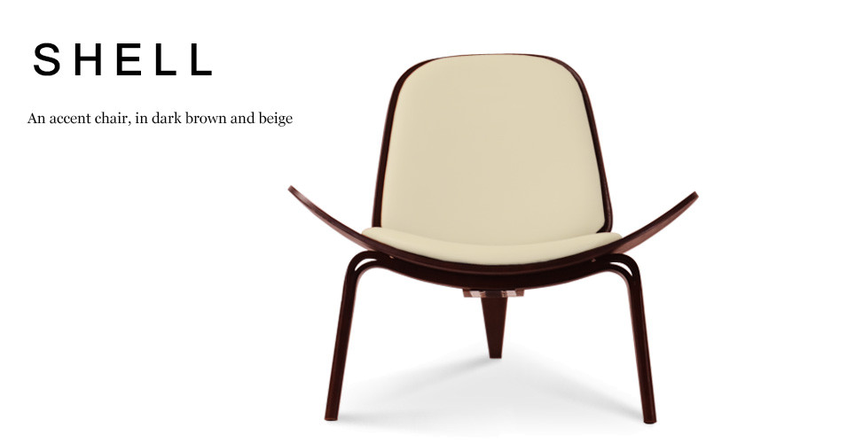 Shell Accent Chair, Dark Brown and Beige