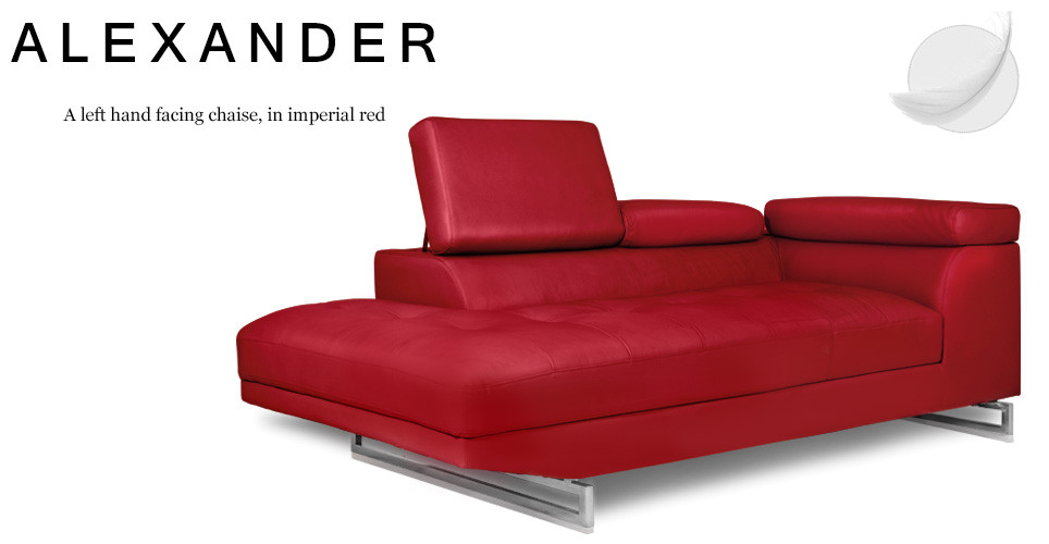 Alexander Left Hand Facing Leather Chaise, Imperial Red