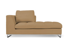 Angelo Large Right Hand Facing Leather Chaise, French Beige