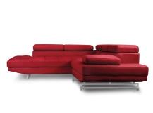 Alexander Left Hand Facing Leather Corner Sofa, Imperial Red