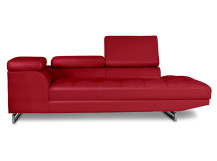 Alexander Right Hand Facing Leather Chaise, Imperial Red