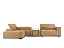 Bruno Modular Leather Corner Sofa with Ottoman, Beige