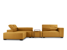 Bruno Modular Leather Corner Sofa with Ottoman, Ochre Brown