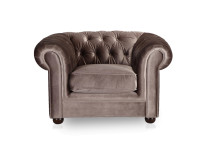 Dutchess Chesterfield Fabric Armchair, Velvet Mink