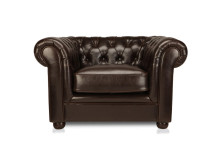 Dutchess Chesterfield Leather Armchair, Chocolate Brown