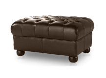 Dutchess Chesterfield Leather Ottoman, Chocolate Brown