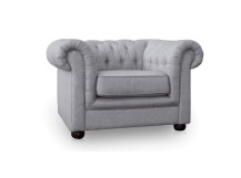 Dutchess Chesterfield Fabric Armchair, Stone Grey