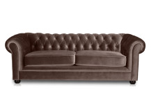 Dutchess 3 Seater Chesterfield Fabric Sofa, Velvet Mink