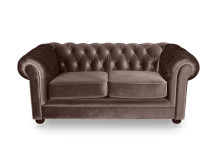 Dutchess 2 Seater Chesterfield Fabric Sofa, Velvet Mink