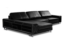 Eros Large Left Hand Facing Leather Corner Sofa, Midnight Black