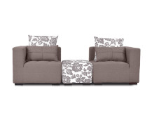 Fiona Large Modular Fabric Sofa with Ottoman, Chamoisee Brown