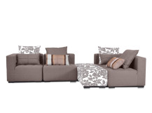 Fiona Large Modular Fabric Corner Sofa with 2 Ottomans, Chamoisee Brown