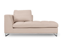 Angelo Large Right Hand Facing Leather Chaise, Champagne Crème