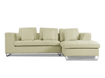 Angelo Large Right Hand Facing Leather Corner Sofa, Cream