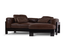 Isabelle Right Hand Facing Leather Corner Sofa, Chocolate Brown