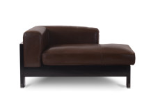 Isabelle Right Hand Facing Leather Chaise, Chocolate Brown