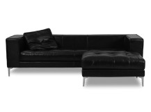 Giorgio Large 3 Seater Leather Sofa with Ottoman, Onyx Black