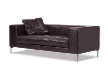 Giorgio Large 2 Seater Leather Sofa, Espresso Brown