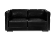 Troy Large 2 Seater Leather Sofa, Onyx Black