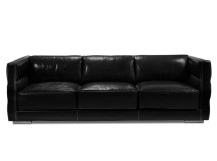 Troy Large 3 Seater Leather Sofa, Onyx Black