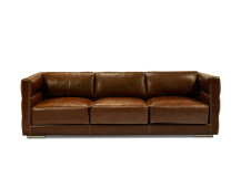 Troy Large 3 Seater Leather Sofa, Sepia Brown