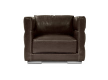 Troy Large Leather Armchair, Chocolate Brown